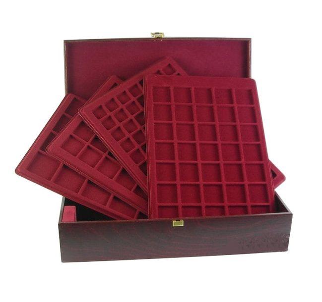 Zdjęcie produktu Elegancki kuferek drewniany z paletami na 214 monet