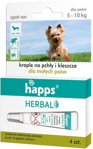 Zdjęcie produktu Krople na pchły i kleszcze dla psów HAPPS Herbal 4szt. MAŁYCH RAS