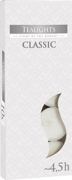 Zdjęcie produktu Podgrzewacze bezzapachowe tealight BISPOL 4.5H CLASSIC 10szt.