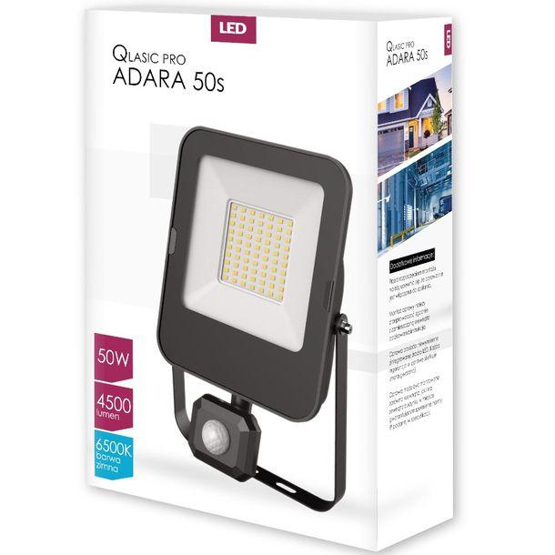 Zdjęcie produktu Naświetlacz LED QLASIC PRO ADARA 50W 6500K IP65 z czujnikiem ruchu ZIMNY