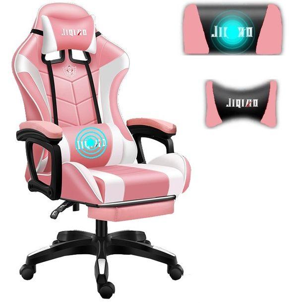 fotel-gamingowy-pro-gracza-obrotowy-rozowy-masaz-gratis