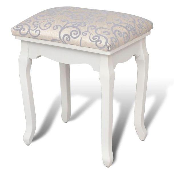 Zdjęcie produktu Taboret do toaletki, ciepła biel, tkanina