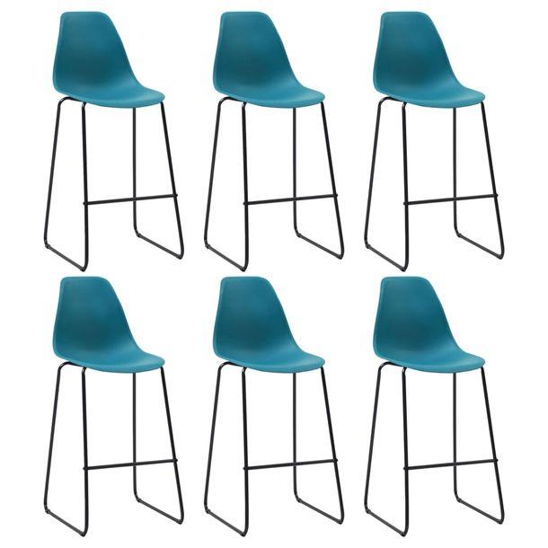 Zdjęcie produktu Krzesła barowe, 6 szt., turkusowe, plastik