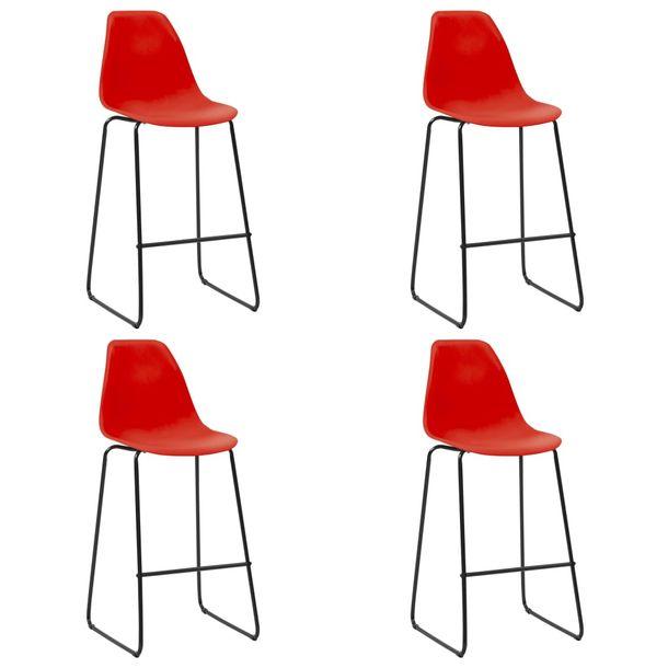 Zdjęcie produktu Krzesła barowe, 4 szt., czerwone, plastik