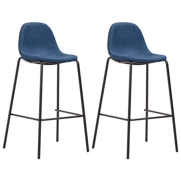 Zdjęcie produktu Krzesła barowe, 2 szt., niebieskie, tapicerowane tkaniną