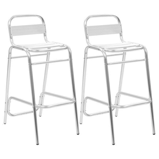 Zdjęcie produktu Krzesła barowe układane w stos, 2 szt., aluminium