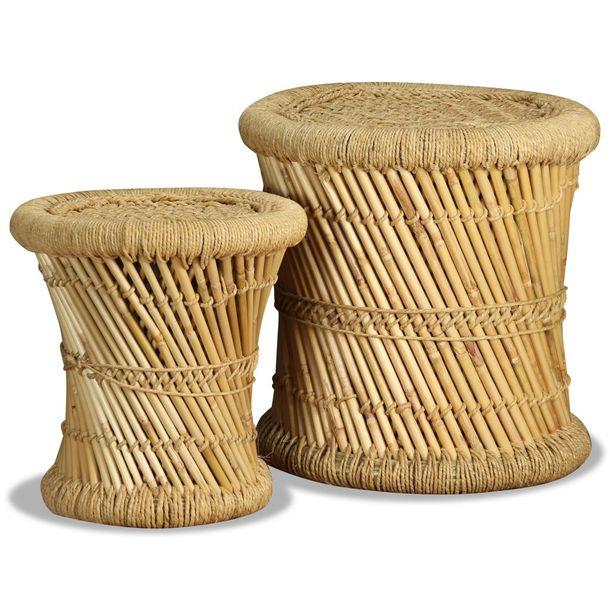 Zdjęcie produktu Stołki, 2 szt., bambus i juta