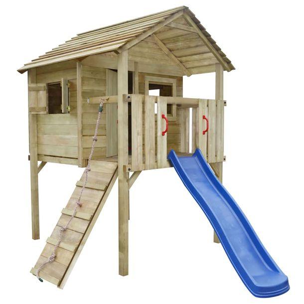 Zdjęcie produktu Domek dla dzieci ze zjeżdżalnią i drabinką, 360x255x295, drewno