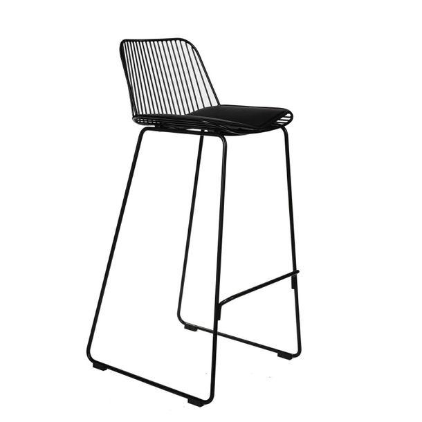 Zdjęcie produktu Krzesło barowe Dill High czarne z czarną poduszką