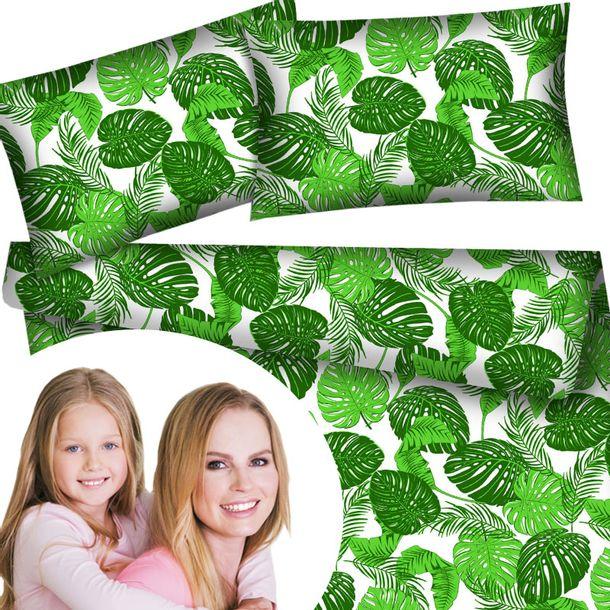 Zdjęcie produktu Pościel bawełniana zielone liście rośliny 160x200 cm nowoczesny wzór