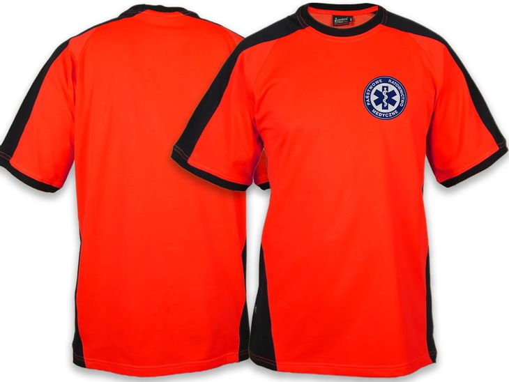 Zdjęcie produktu Koszulka FLUO męska PRM PAŃSTWOWE RATOWNICTWO MEDYCZNE - niebieskie logo
