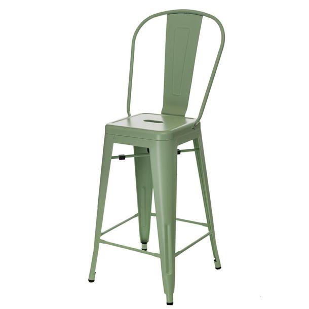 Zdjęcie produktu Stołek barowy Paris Back zielony inspirowany Tolix