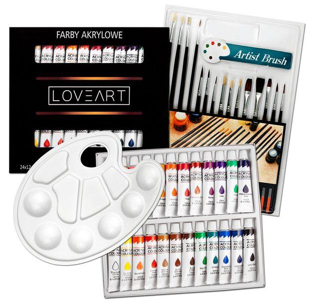 Zdjęcie produktu Zestaw - Farby akrylowe 24x12ml + pędzle 15szt + paletka malarska