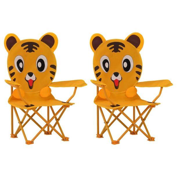 Zdjęcie produktu Krzesełka ogrodowe 2 szt. żółte tkanina VidaXL