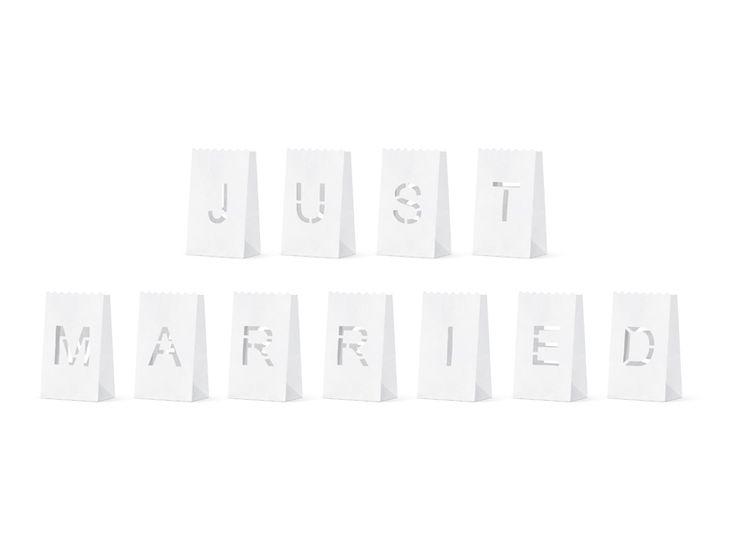 Zdjęcie produktu Lampiony, torebki na świece - Just Married, 11.5x19x7cm (1 op. / 11 szt.)