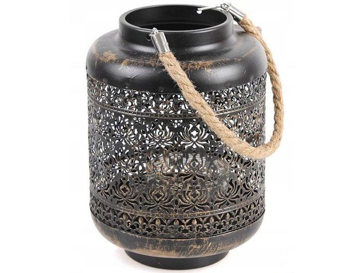 Zdjęcie produktu Metalowy orientalny lampion ze sznurkiem 22 cm, 16 cm